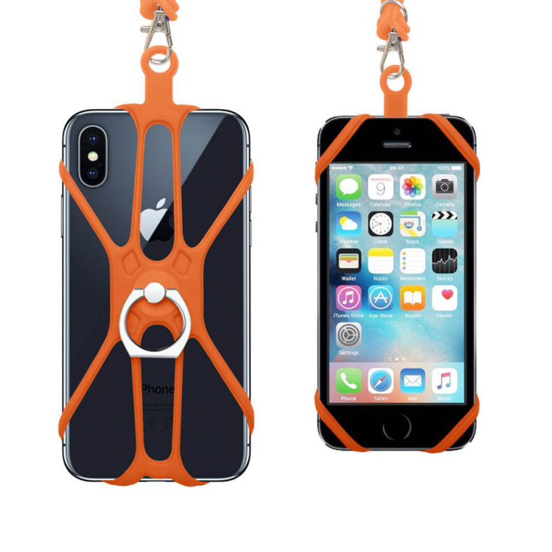 1 Pc Universal Lanyard For Cell Phone Finger Ring Holder Sports Strap Silicone Mobile Phone Ring Anti-lost Lanyard Grip Neck