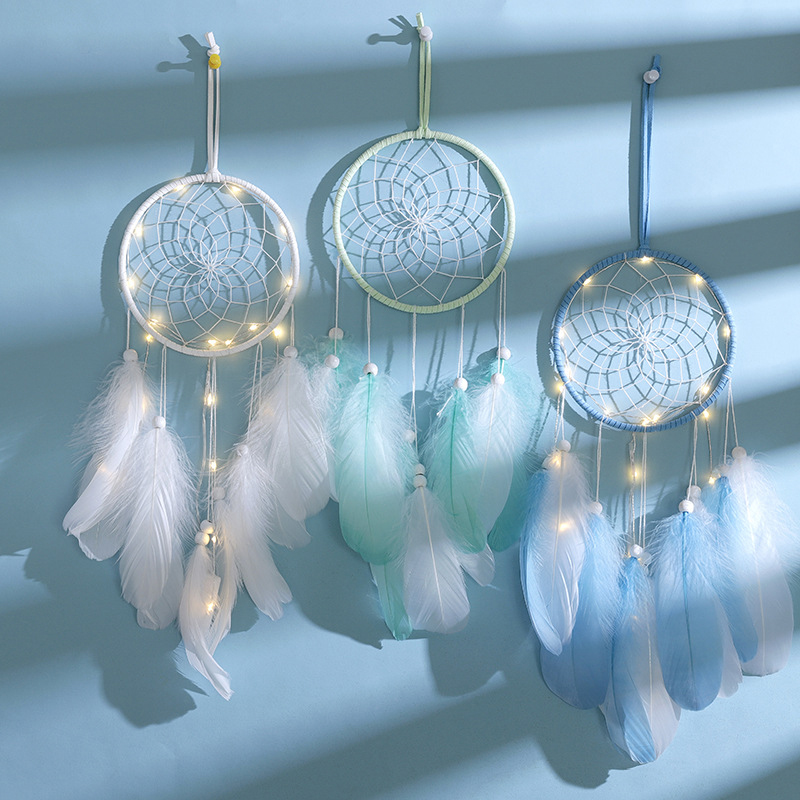 Novelty Feather Night Light Dream Catcher Fairy Lamp With Battery for Home Living Room Bedroom Party Wedding Wall Decoration