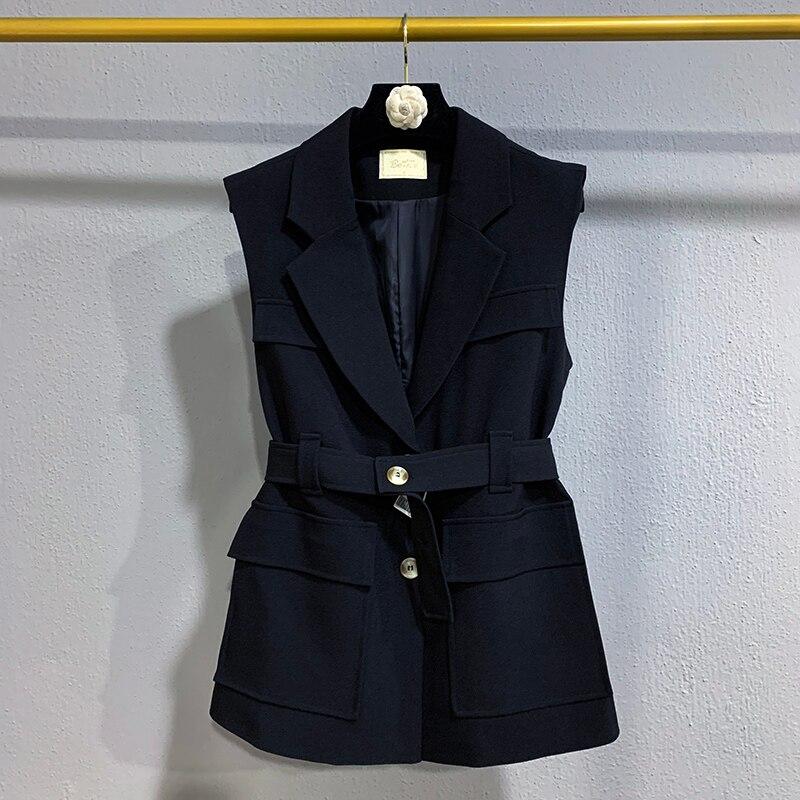 Повседневная однотонная женская куртка без рукавов, жилет, новая мода, высококачественный облегающий женский костюм, элегантный женский Блейзер на осень Пиджаки    АлиЭкспресс
