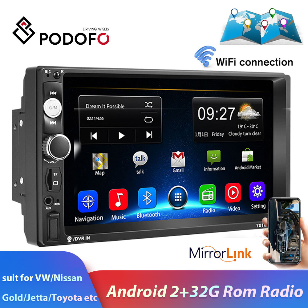 Podofo 2din Car Radio Android GPS Navi WiFi 7 Car Multimedia Player Car Stereo For VW TOYOTA GOLF Nissan Hyundai CR-V Autoradio image
