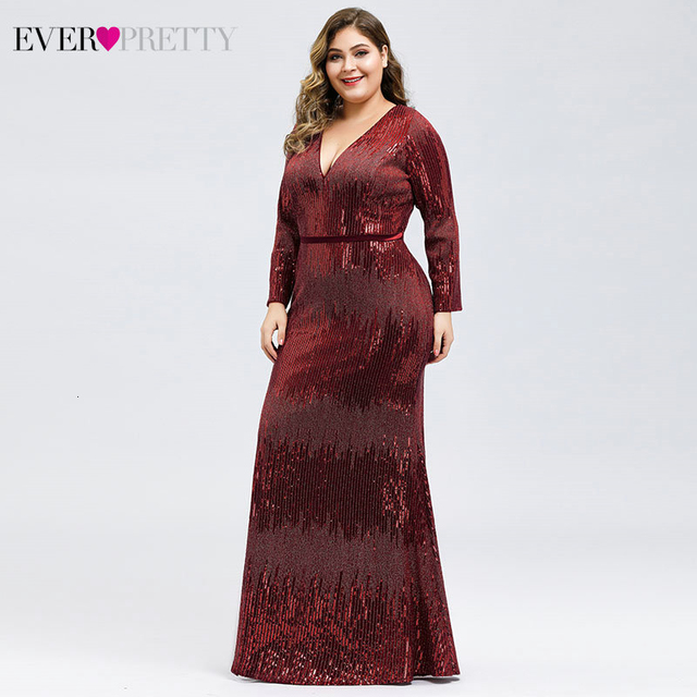 Plus Size Sequined Evening Dresses Ever Pretty Mermaid Deep V-Neck Long Sleeve Sexy Sparkle Evening Gowns Abiye Gece Elbisesi 2
