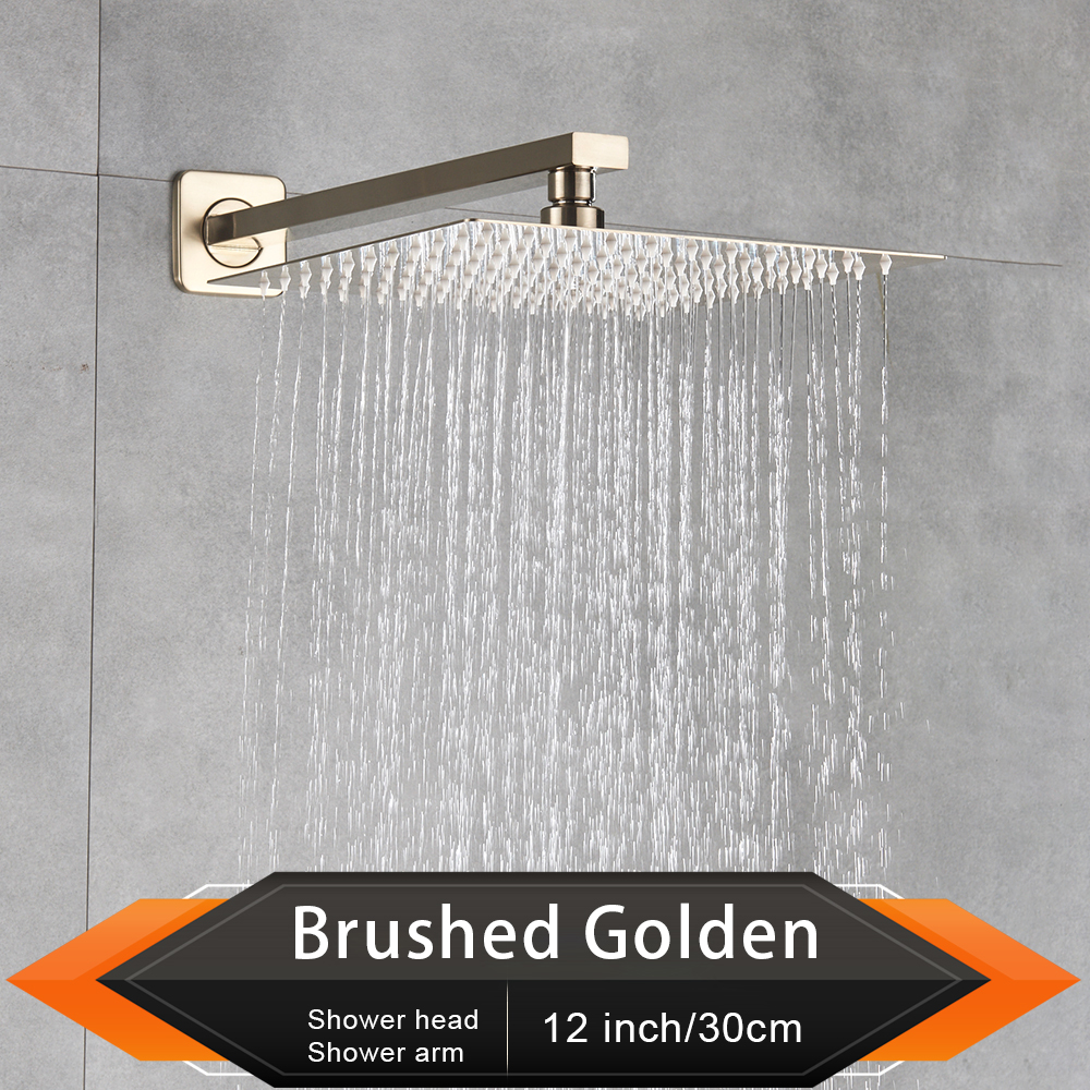 "Image 5 - Brushed Golden Rainfall Shower Head Bathroom 8/10/12"" Ultrathin Style Top Shower Head with Wall Mounted Shower Arm-in Shower Heads from Home Improvement"