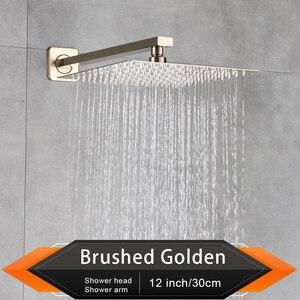 """Image 5 - Rozin fırçalanmış altın yağış duş başlığı banyo 8/10/12 """"ultra ince stil tepeden duş başlığı ile duvara monte duş kolu"""