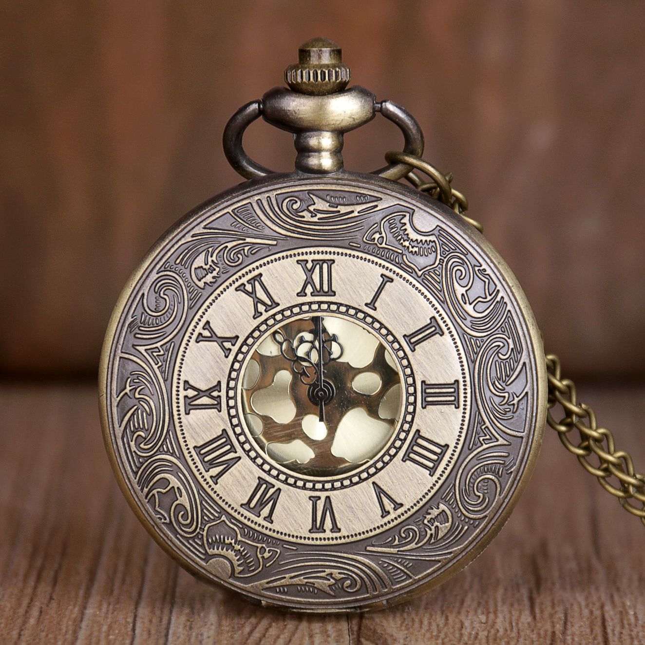 Vintage Bronze Steampunk Pocket Watch Quartz Necklace Pocket & Fob Watches Chain Men Women Clock Gifts