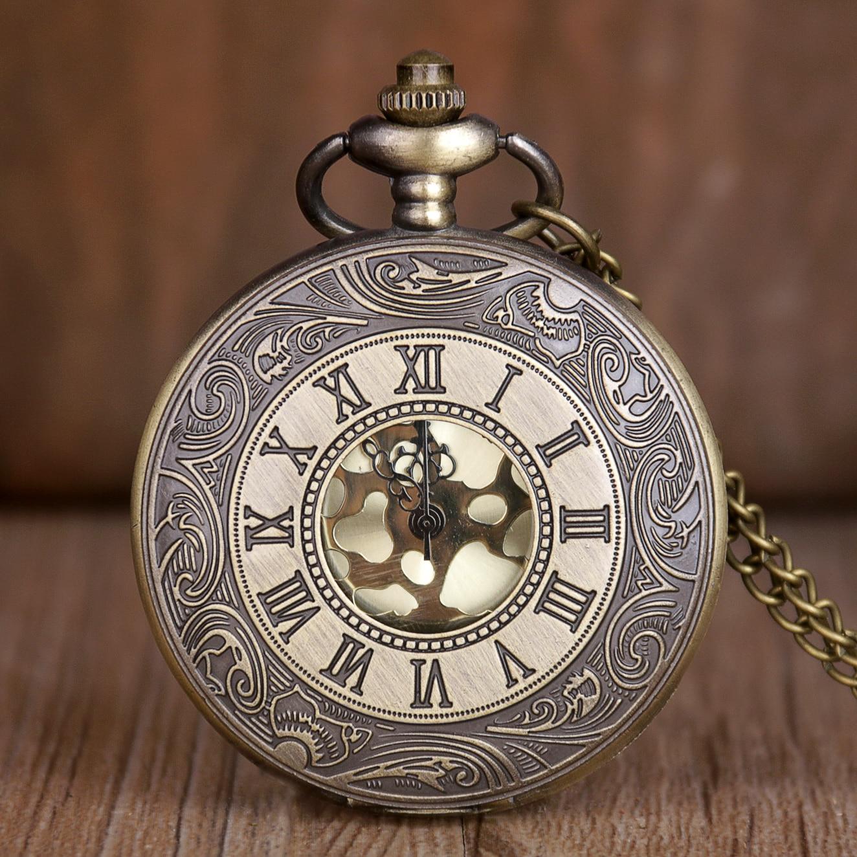 Vintage Bronze Steampunk Pocket Watch Quartz Necklace Pocket & Fob Watches Chain Men Women Clock Gifts