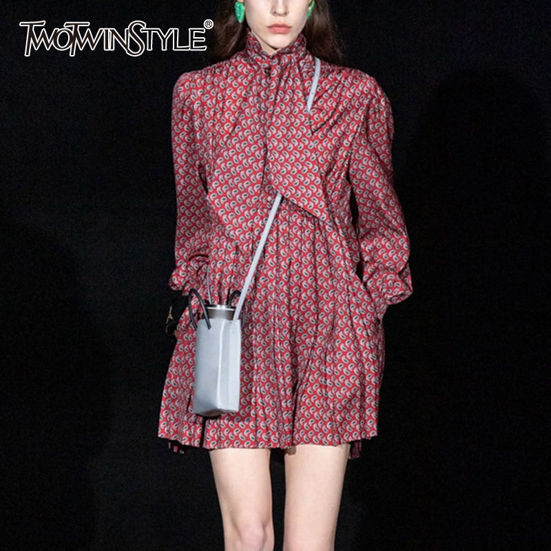 TWOTWINSTYLE Vinatge Print Women Dress Stand Collar Lantern Long Sleeve High Waist Ruched Lace Up Dresses For Femal Clothing New