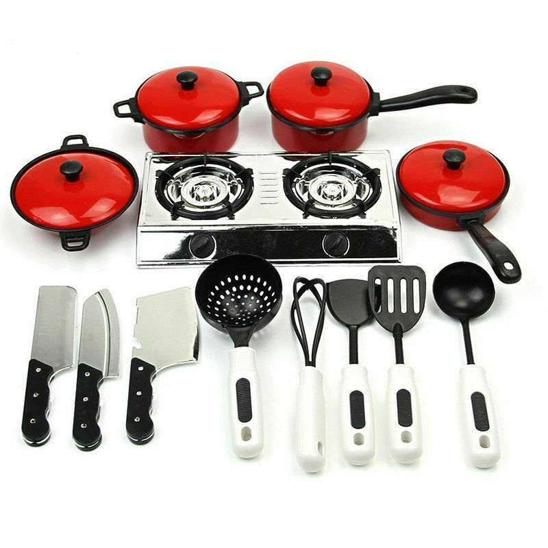 Hot Kitchen Toys 13PCS Toddler Girls Baby Kids Play House Toy Kitchen Utensils Cooking Pots Pans Food Dishes Cookware