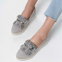 2019 new pumps mid med heels slip on wedges shoes woman round toe  loafers tassels wxx029