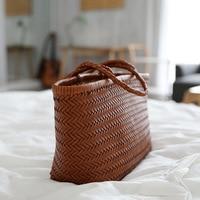 2019 small design French basket handbag cowhide hand woven basket bag leather lykj yx