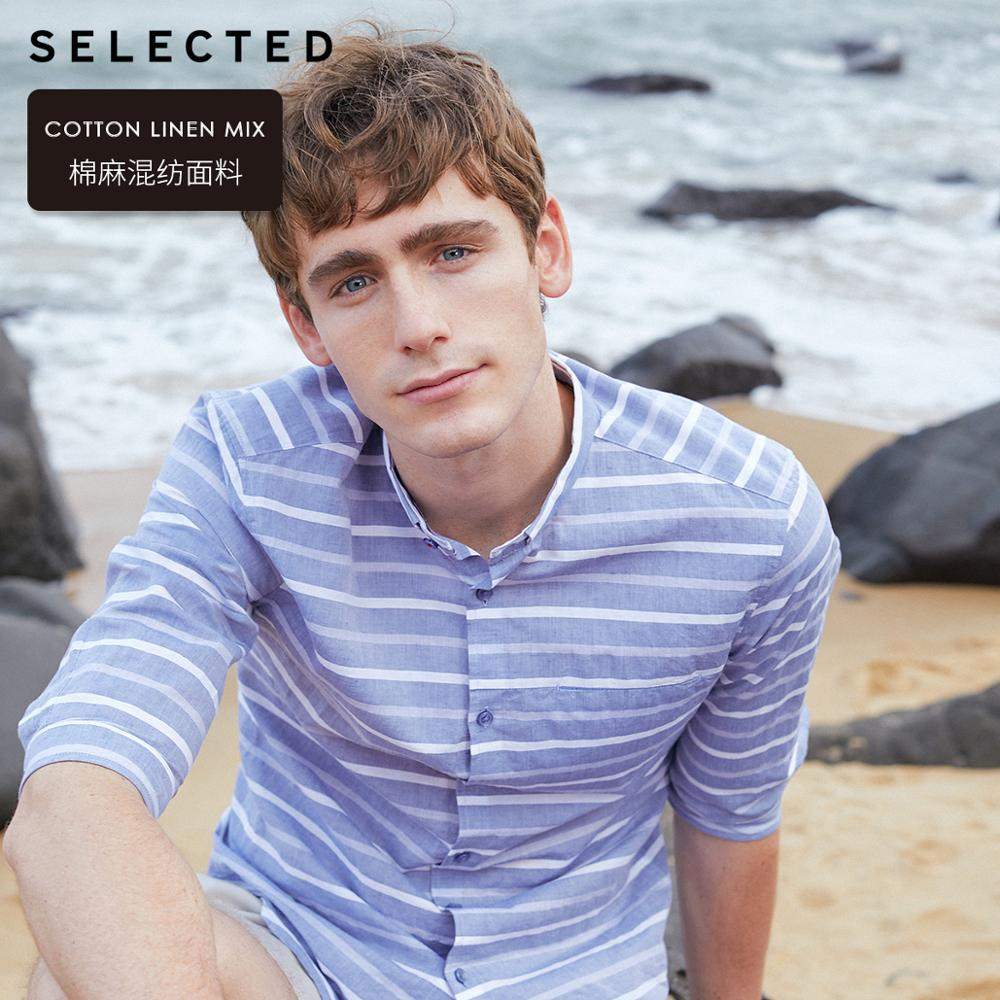 SELECTED Men's Cotton & Linen Blended Striped 3/4 Sleeves Casual Cropped Shirt C|419131509