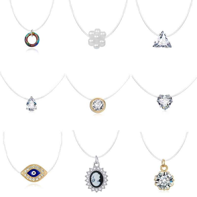 Ожерелье-чокер Dayoff в Корейском стиле женское, невидимая цепочка с цирконом стразы, Дева Мария, новая жизнь, дерево, рыболовная леска, колье-ч...