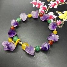 Natural amethyst original stone bracelet DIY  fashion jewelry handmade wholesale