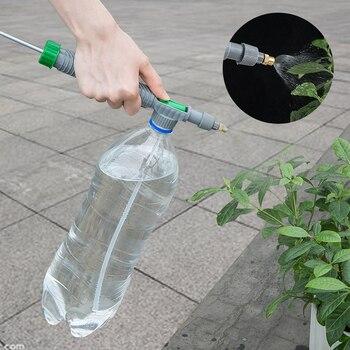 Portable Plastic Adjustable High Pressure Air Pump Manual Sprayer Drink Bottle Spray Head Nozzle Garden Watering Irrigation Tool