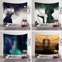 Large Forest People Shadow Tapestry Wall Hanging Psychedelic Tapestry Wall Fabric Decor Custom Mandala Blanket Beach Carpet/Rug(China)