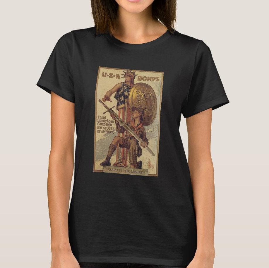 Buy Liberty Bonds WWI 1918 Women's T-Shirt Columbia / Lady Liberty and USA Boy Scout image