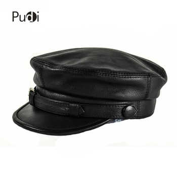 HL167-F genuine leather baseball cap hat  men's brand new cow skin leather newsboy arny Fisherman aviator caps hats black color - DISCOUNT ITEM  40% OFF All Category