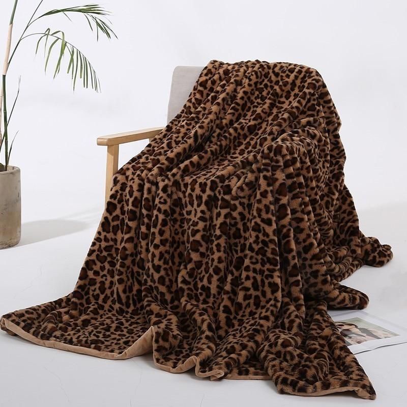 Élégant léopard conception floue couverture feuilles Super doux lapin fourrure cristal courte peluche literie canapé couverture 130*160 cm/160*200 cm