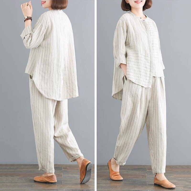 Mujer Pants Suit Autumn New Stitching Harem Pants Retro Sets Loose Large Size Women's Striped Shirt Fashion Two-piece Suit Z543