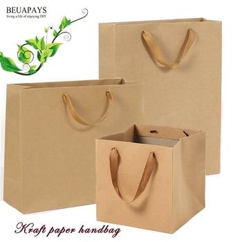 free shipping 50pcs Yellow kraft paper handbag horizontal vertical square gift bag festival party favors home decoration wedding