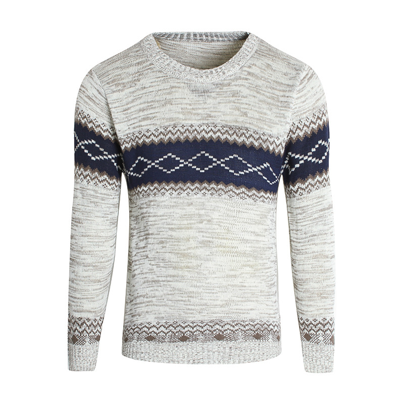 Pure Korean Sweater With Men's Round Collar And Long Sleeve Bottom Knitted Sweater For Autumn And Winter