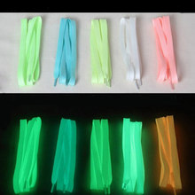 1 Pair New Sports Luminous Shoelaces Glow In The Dark Color Fluorescent Lace Flat Shoes Fashion Solid Color Shoelaces Pink White(China)
