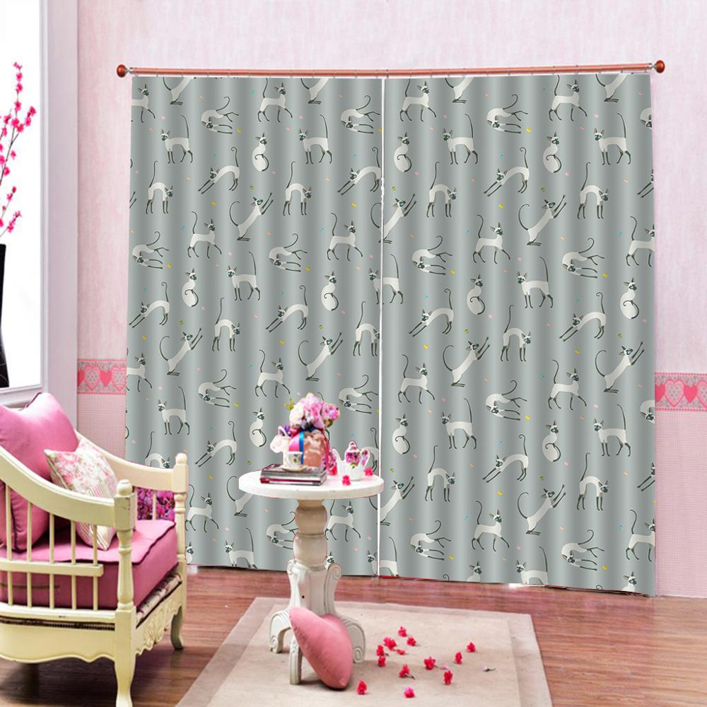 grey curtains 3D Blackout Curtains For Living room Bedding room Drapes Cotinas para sala animal curtain