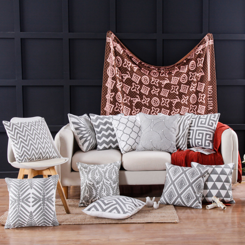 ZENGIA Boho Geometric Embroidered Cushion Cover Gray Embroidery Pillow Case Ethnic Pillow Cover For Sofa Home Decoration Pillow
