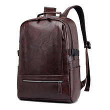 Vintage Laptop PU Leather Backpacks for School Bags Men Travel Leisure Backpacks Retro Casual Bag Schoolbags Teenager Students(China)