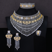 missvikki Gorgeous NEW Fine 4PCS Noble Tassel Bridal Wedding Earrings Necklace For Women Wedding Indian Dubai Bridal Jewelry Set