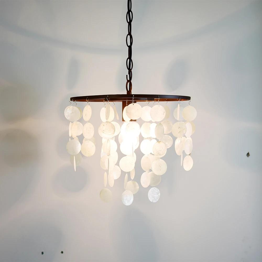 aoiour modern capiz pendant light beach chandelier contemporary hanging lamp for dining bedroom kitchen ceiling lighting fixture