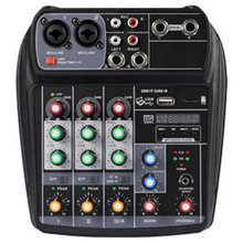 Portable Audio Mixer A4 Mixing Console Bluetooth Recording 48V Phantom Power Effect 4-Channel Audio Mixer Us Plug(China)