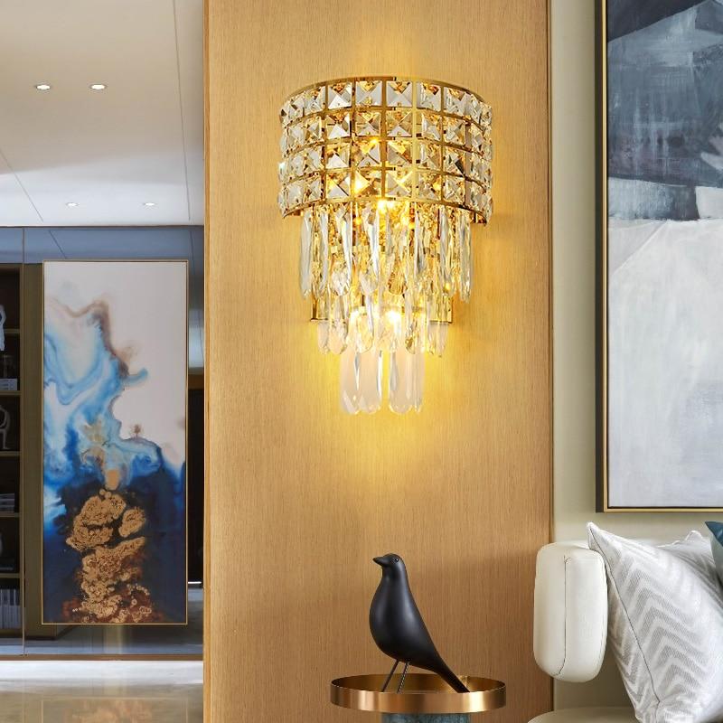 Pós moderna cristal conduziu a lâmpada de parede ferro quarto iluminação cabeceira escadas do corredor ouro luxo luminária luzes entrada do hotel - 5