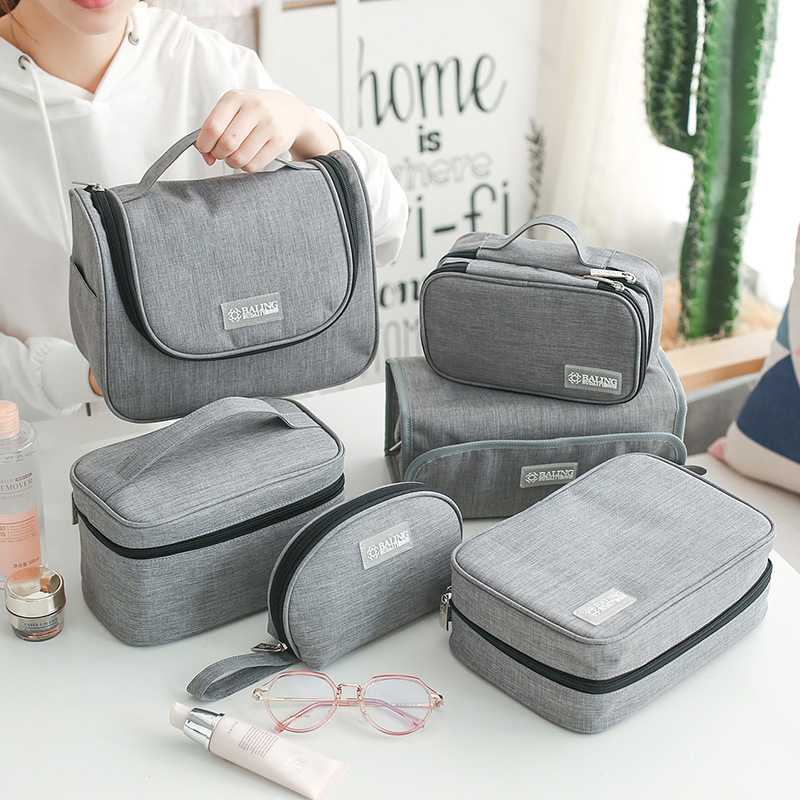 Casual Waterproof Portable Cosmetic Bag Neceser Hanging Wash Organizer Travel Women Makeup Toiletries Kit Accessories Supplies