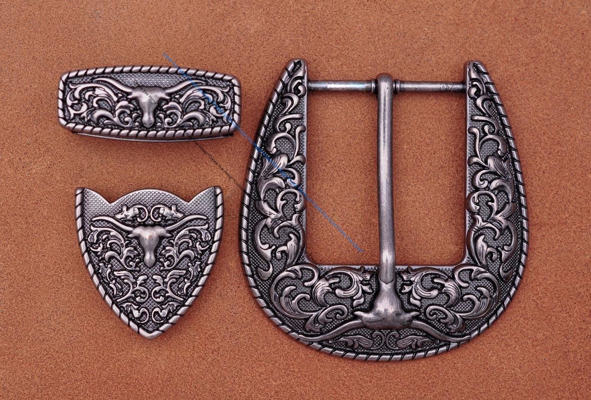Antique Silver Floral Western Cowboy Longhore Bull SKull Rodeo Belt Buckle Three Piece Set Unisex Fits 40mm Strap
