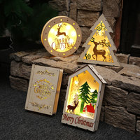 1pc LED Wood Ornament Christmas Tree Shape Wood Light Elk Table Decor Creative Table Round Stars Elk Merry Christmas Household
