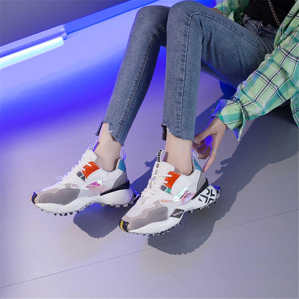 DORATASIA yeni INS moda karışık renkli spor ayakkabı kadın 2020 sonbahar tatlı kız pembe baba ayakkabı kadın düz Platform ayakkabılar