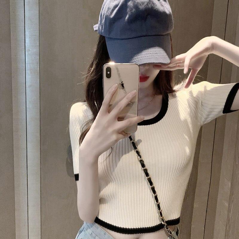 Популярная в Интернете футболка для женщин в стиле Instagram супер-Горячая короткая Облегающая рубашка с высокой талией и коротким рукавом в пу...