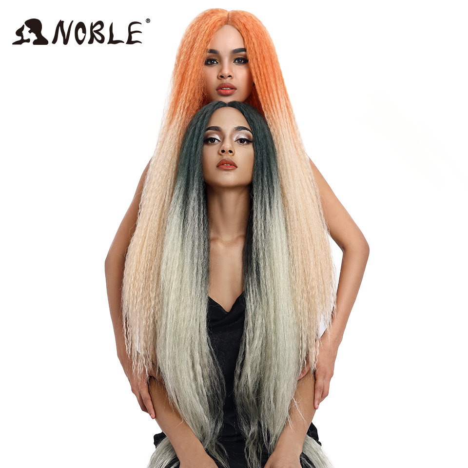 Noble Synthetic Braided Wig Lace Front Wigs For Black Women Heat Resistant Wig 38 Inch Green Pink Wig Lace Wig Synthetic