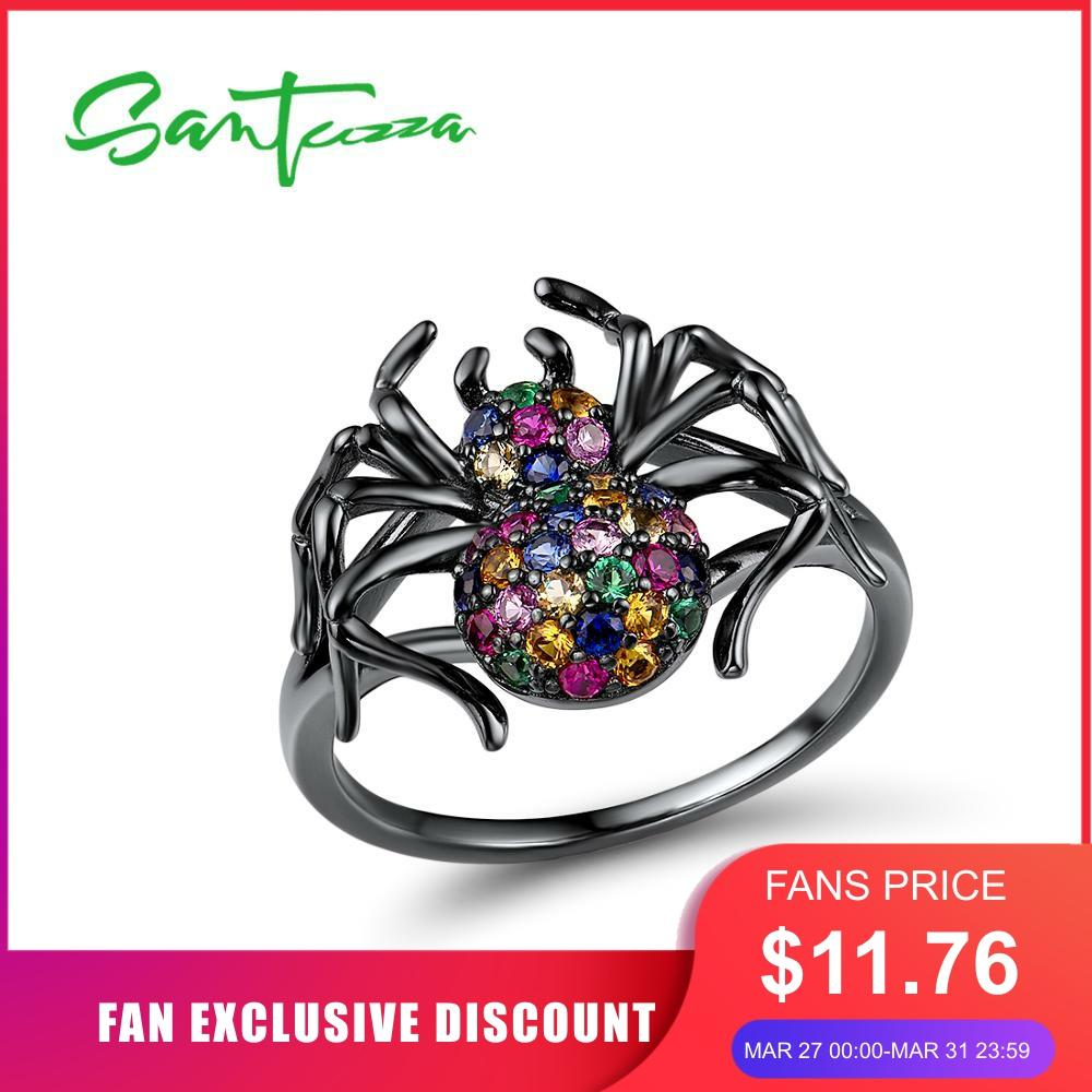 SANTUZZA Silver Rings For Women Authentic 925 Sterling Silver Colourful Stone Black Spider Ring Trendy Party Ring Fine Jewelry