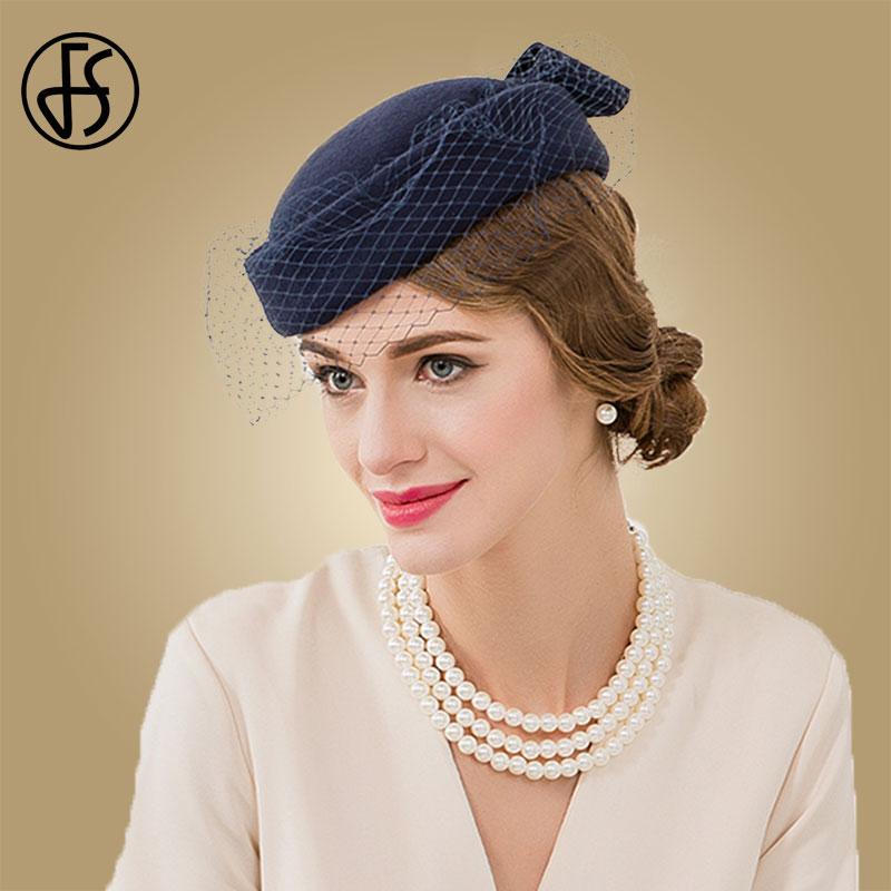 FS Vintage Royal Blue Wool Felt Pillbox Hat Fascinator For Elegant Women Wedding Beret Hat Veil Fedora Ladies Church Caps