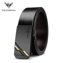 WilliamPolo Men Belt Genuine Leather Automatic Buckle Luxury