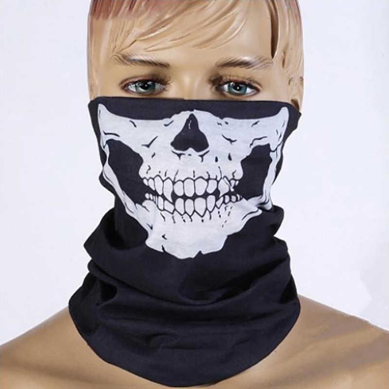 Ciclismo máscara facial crânio bandana capacete pescoço bicicleta máscara facial lenço térmico halloween bandana cachecóis para ao ar livre