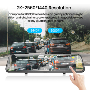 Image 4 - Dropshipping  2K+GPS Car DVR 12 Inch Touch IPS Mirror Dual Lens Dashcam Car Cam G sensor Video Recorder With Rear View