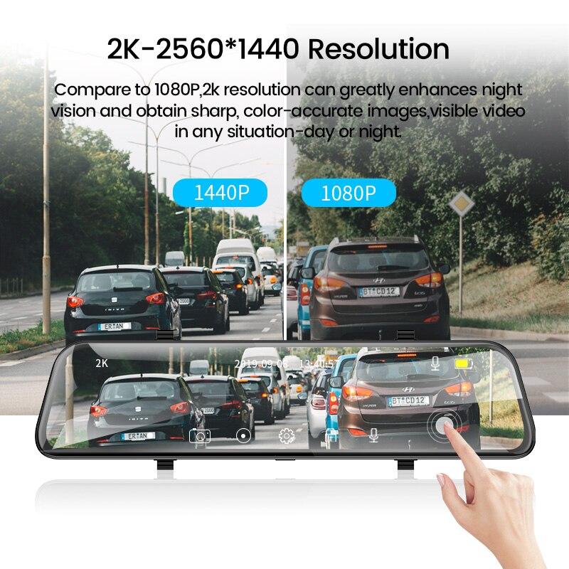 E-ACE A38 2K Автомобильный видеорегистратор 12 дюймов сенсорный ips зеркало заднего вида двойной объектив Dashcam Автомобильная камера g-сенсор видео...