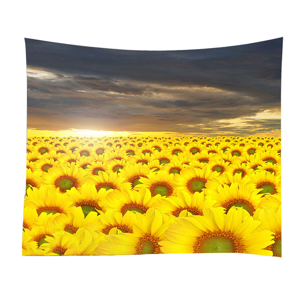 sunflower sea Tapestries Bedspread MULTI-FUNCTION Tapestries for living room New indoor decors background mat d3(China)