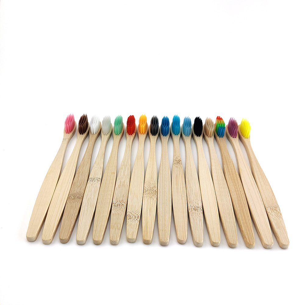 12 Pcs Environmental Bamboo Charcoal Toothbrush For Oral Health Low Carbon Medium Soft Bristle Wood Handle Toothbrush