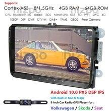 Автомагнитола 2 Din, Android 10,0, 9 дюймов, 4 Гб ОЗУ, 32 Гб ПЗУ, GPS, для V W passat golf 4 5 tiguan polo skoda fabia CC DAB WIFI BT CAM