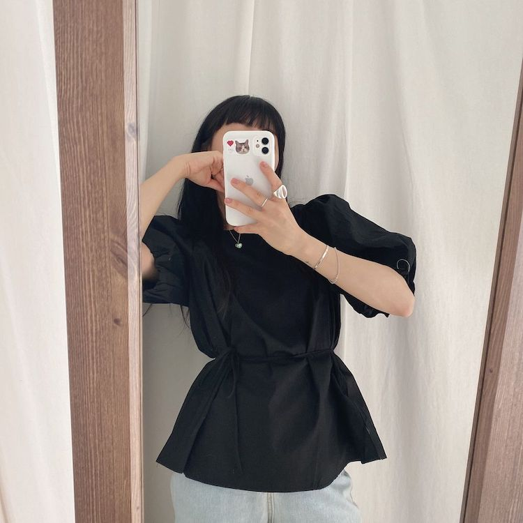 H22851001148749eba308131972b9b424n - Summer O-Neck Short Puff Sleeves Cotton Lace-Up Solid Blouse