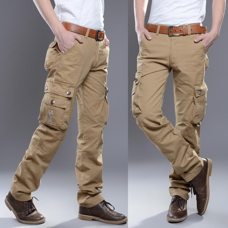 2019 Брендовые мужские военные брюки карго с несколькими карманами, мешковатые мужские брюки, повседневные брюки, комбинезоны, армейские