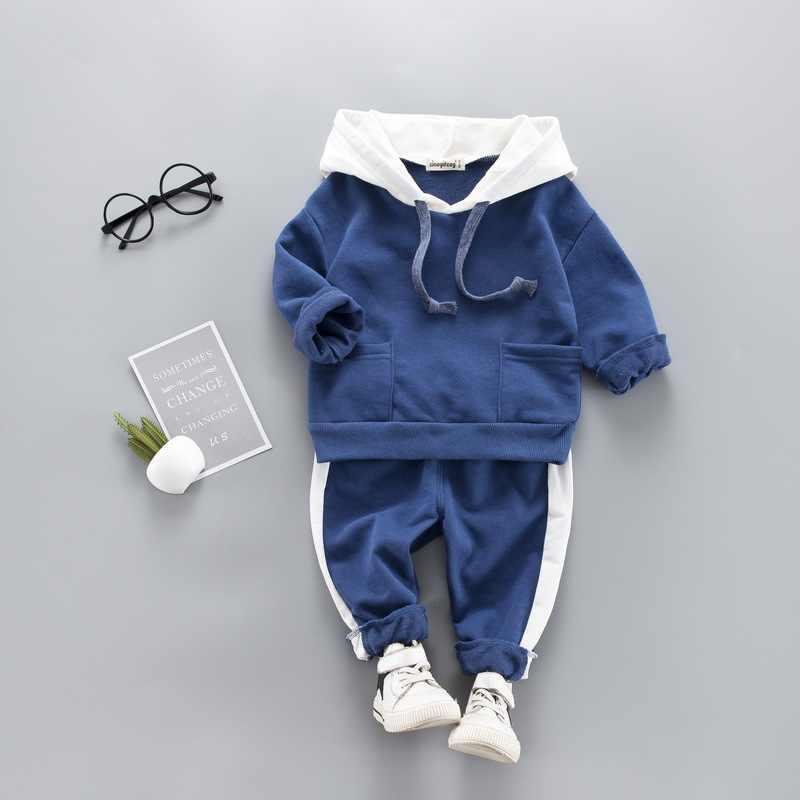 Conjunto de ropa informal para niños pequeños, sudadera con capucha, traje largo de retazos, ropa para niños, Jersey, chándal, trajes de 1 a 4 años